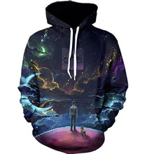 6 muster fashion galaxy 3d druck herren sportswear m bis 4xl Hip Hop Fashion Pull Über Winter Hoodies Mit Kappe Und Tasche