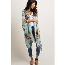 JSMY Women New Summer Flower Print Sunscreen Large Size Fat Kimono Chiffon Loose Tunic Robe Cover-up недорого
