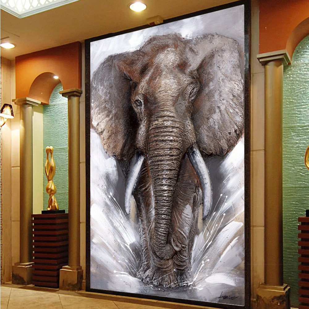 SELFLESSLY Thunder Elephant Wall Art Canvas Pictures Modern Elephants Landscape Posters Home Decoration Printed Cuadros Painting african elephant