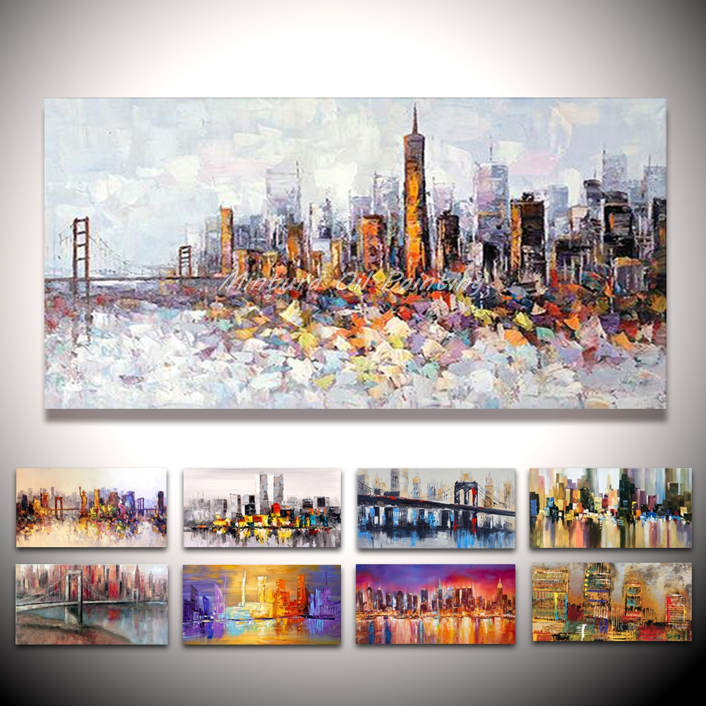 Mintura Hand Painted New York Building Picture Abstract Modern Palette Knife Oil Painting On Canvas Living