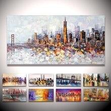 Mintura ручная роспись Нью-Йорк здание картина абстрактная Современная палитра нож картина маслом на холсте гостиная стены Искусство Декор