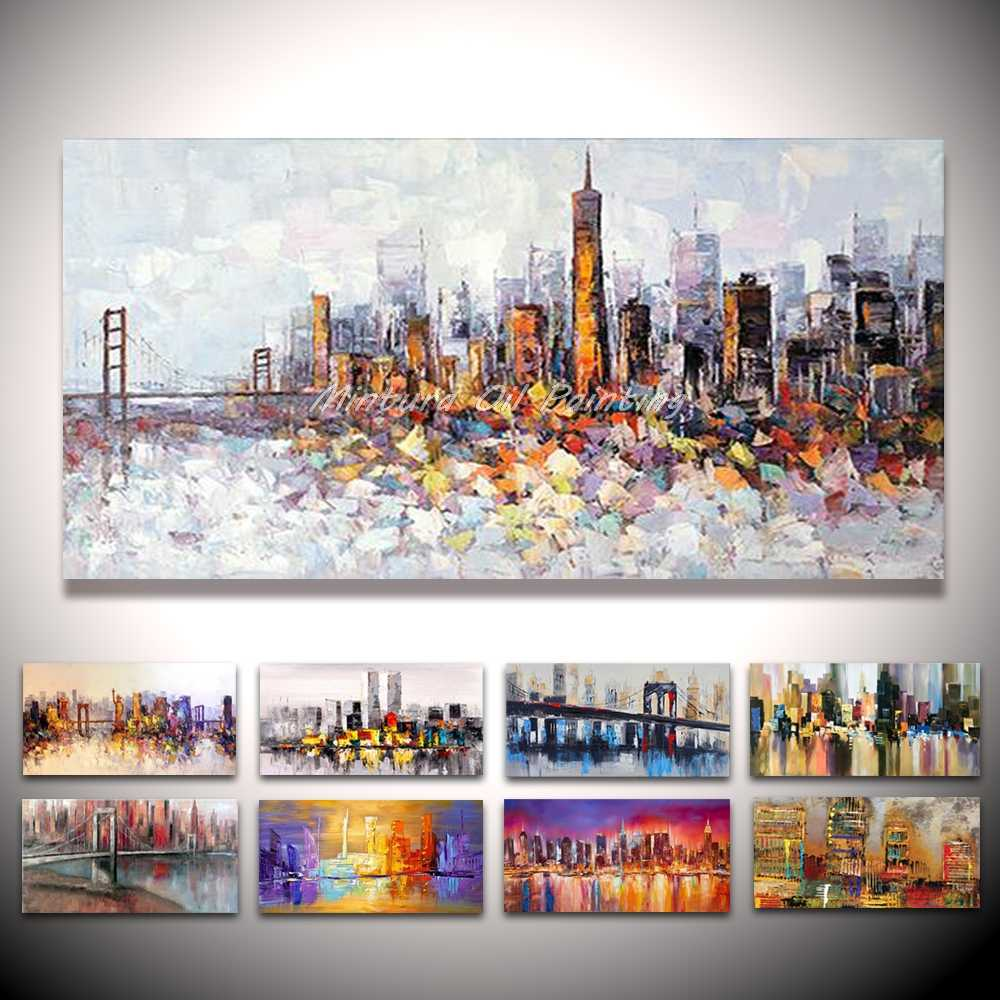 Mintura Hand Painted New York Building Picture Abstract Modern Palette Knife Oil Painting On Canvas Living Room Wall Art Decor