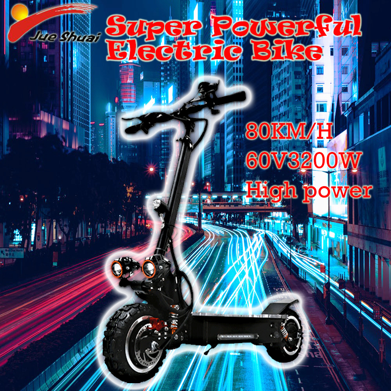 3200W 60V 80KM/H electric scooter Off Road teenagers powerful Foldable Waterproof Samsung ebike Hoverboad Skateboard 11 inch