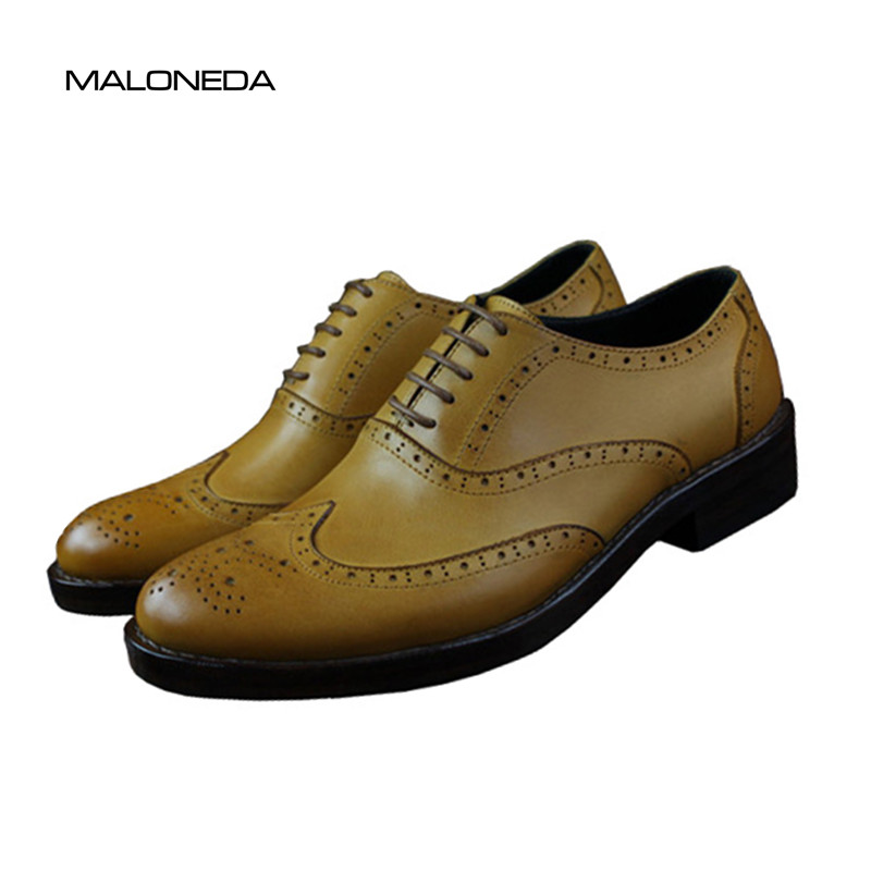 MALONEDA Custom Made Goodyear Welted Shoes 100% Genuine Leather Lace-up Dress Shoes Classic Mens Oxford Brogues classic style classic mens dress shoes deep coffee color genuine leather oxford shoes for men lace up pointy loafers high heels