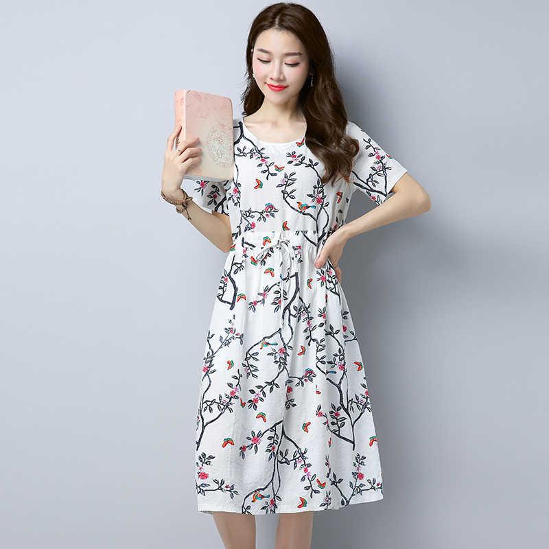 Летнее платье с коротким рукавом из хлопка и льна, женская одежда, платье до середины икры, подходит ко всему размера плюс, эластичная талия, тонкое платье с цветочным принтом