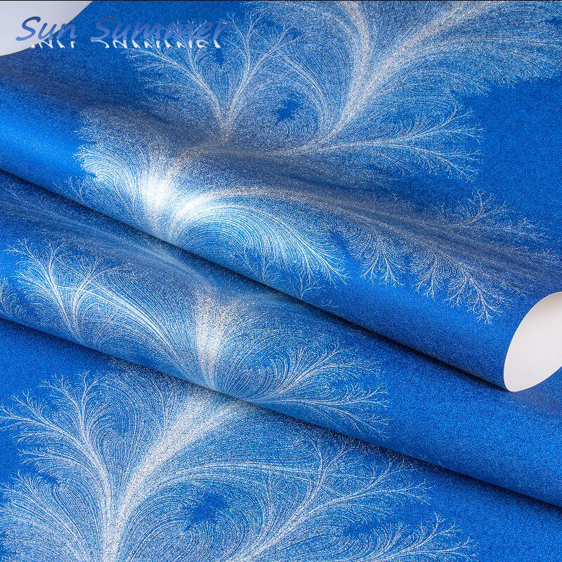 PVC gold foil blue purple feather wallpaper bar club shower center background wall paper waterproof thickening