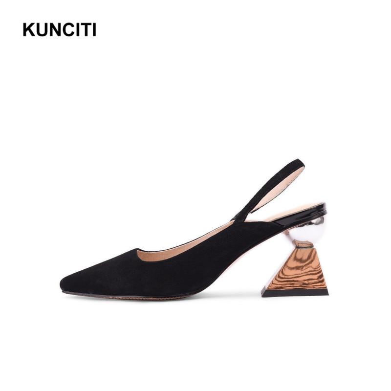 2019 สตรีรองเท้าส้นสูงฤดูร้อนรองเท้าหนังนิ่มสุภาพสตรีรองเท้าแตะ Slingback แปลก Heel Fetish Footwears คุณภาพสูง X922-ใน รองเท้าส้นสูง จาก รองเท้า บน   1