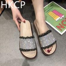 HKCP Slipper lady 2019 new fully diamond-encrusted truffle bottom open-toe slipper ladys flat outdoor slipeprs C500