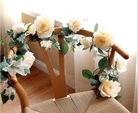 משלוח חינם 1.7 M מלאכותי משי רוז פרח גפן קיסוס עלה זר מסיבת חתונת בית תפאורה