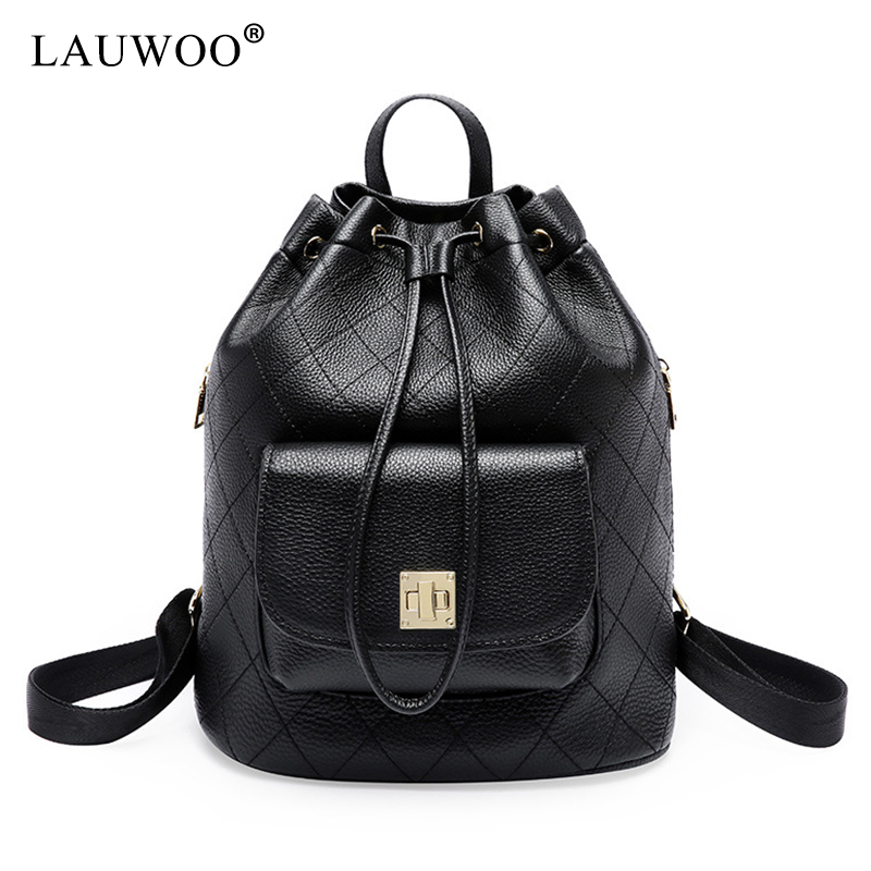 LAUWOO Women's Simple Design Fashion Quilted Casual Backpack Leather Backpack for Women Satchel School Bags simple cat print and canvas design satchel for women