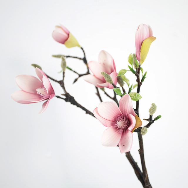 3pcs White Pink Magnolia Denudata 50cm Length Artificial Flower