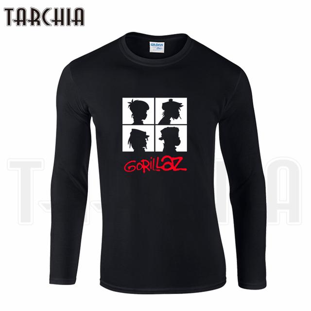 TARCHIIA Frete Grátis Famosa Banda Gorillaz Impressão dos homens de Manga Longa Homme Cool T-Shirt camiseta de Algodão Plus Size para a Mulher Menino desgaste