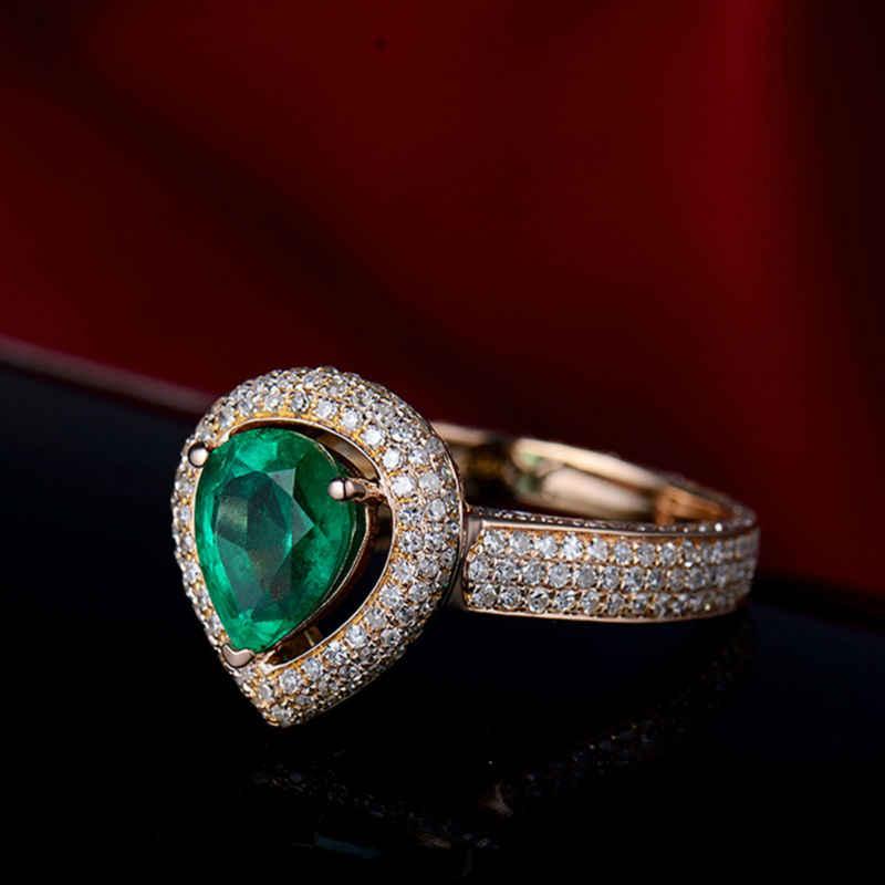 Loverjewelry Tự Nhiên Lê Xanh Ngọc Bích Đính Kim Cương Vòng Chắc Chắn 18K Hoa Hồng Vàng Nhẫn Ngọc Lục Bảo Cho Làm Quà Trang Sức