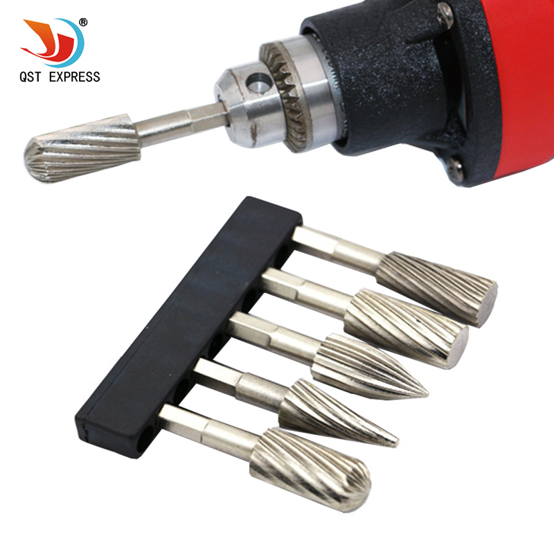 Electric Grinder HSS Rotary Files Burr 5pcs 1/4