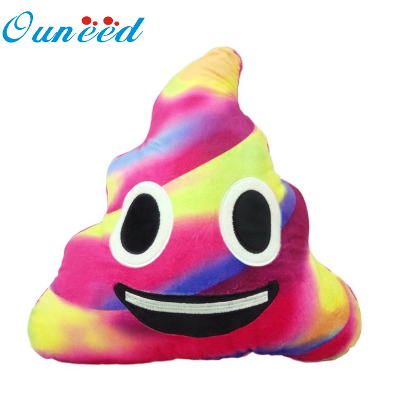 Ouneed Patchwork color Cushion Emoji face smile Poo Shape Pillow soft Plush cushion 20cm 2016 Gift 1pc Drop ...