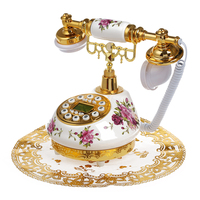 Retro Vintage Antique Style Floral Ceramic Home Decor Desk Telephone Phone