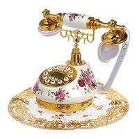 Retro Vintage Antique Style Floral Ceramic Home Decor Desk Telephone Phone