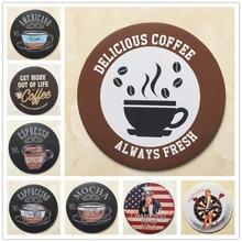 DELICIOUS COFFEE Vintage Metal Decorative Plates Coffee Shop Signboard Wall Art Painting Round Retro Nostalgia Plaque 30CM R003