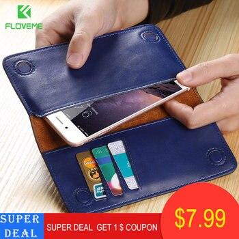 c7b06b955e8 Novedoso pack de 5,5 pulgadas Universal cartera caso para iPhone 6 6 s Plus  de cuero genuino para iPhone 7 7 Plus 8 8 Plus Funda de cuero Real