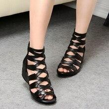 2017 d'été De Mode sandales en cuir véritable doux semelle confortable bout ouvert coins mère chaussures sandales plates