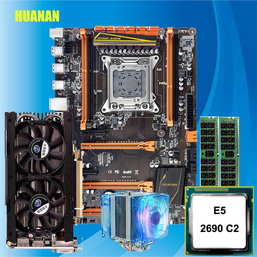 Nouveauté HUANAN deluxe X79 carte mère de jeu Xeon E5 2690 C2 avec cooler RAM 32G (2*16G) DDR3 RECC GTX760 4G DDR5 vidéo carte