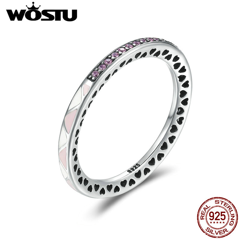 WOSTU Authentic 925 Sterling Silver Pink & White Enamel Chic Finger Rings For Women Fashion Wedding Jewelry Fine Gift CQR110 wostu new arrival real 925 sterling silver luminous glow rings for women authentic fine jewelry gift zbb7640