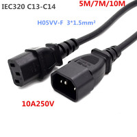 IEC 320 3 Pin C14 Male To C13 Female Main Power Extension Cord Lead Cable 5/7M/10M, 3x1.5 mm sqare coopper wire