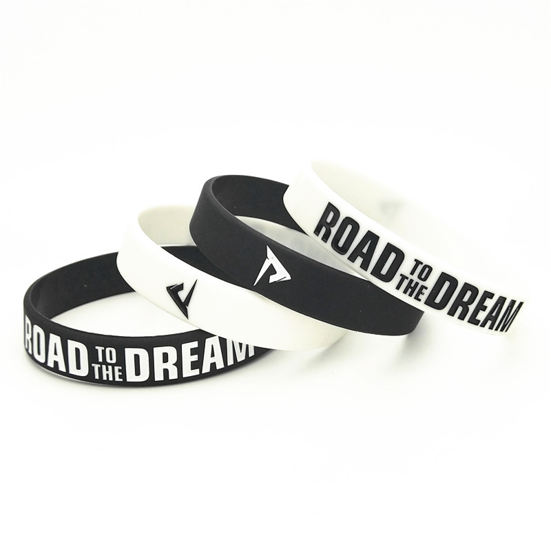 50PCS Road to the Dream Rubber Silicone Bracelets&Bangles Ink Filled Logo Letter Women Men Bracelet Rubber Wristband Gifts SH307