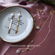 GWACC 2019 NEW Design Metal Brass Bracelets Necklaces Earrings Set For Women Girls Natural Irregular Freshwater Pearls Boho