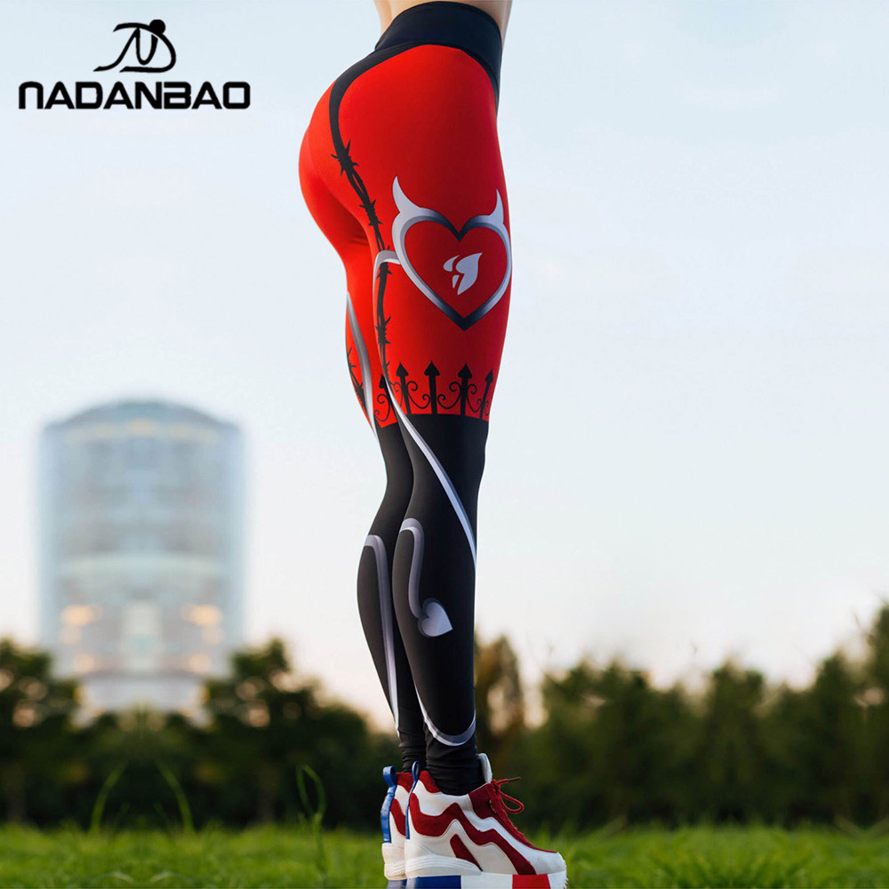 NADANBAO 2019 Women Leggigns Heart Shape Digital Print Patchwork Fitness Legging Push Up Workout Plus Size Leggins Pants(China)