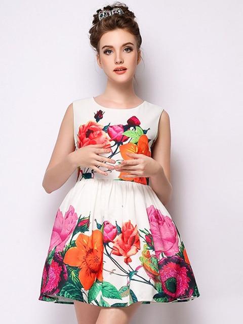 cf487649bb6 Fashion Women Hot Sale Casual Slim Vest Cute Flowers Printed dress White  Floral Print Sleeveless Dress DRES0413B995G