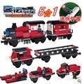 Woma J5705 transporte gratuito 5 1 tren Building Block Sets 335 unids Bricks educación de bricolaje juguetes para los niños