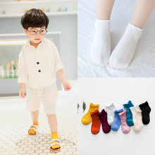 Children's cotton socks, spring and summer cotton pure color, curling, breathable mesh socks, baby girl and baby boy candy socks