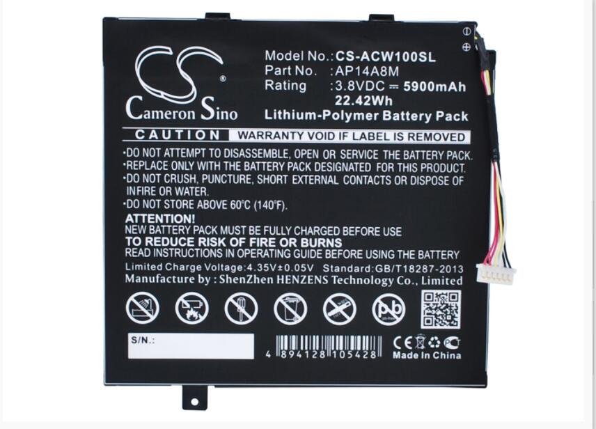 Cameron Sino 5900 mAh batterie pour ACER A3-A20FHD Aspire Switch 10 Iconia Tab 10 A3-A20 NTL4TET016 SW5-011 AP14A8M