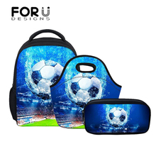 FORUDESIGNS 3Pcs/set Foot Ball Boys School Bags for Kids Baby Kindergarten Backpack Children Shoulder Book Bag Satchel