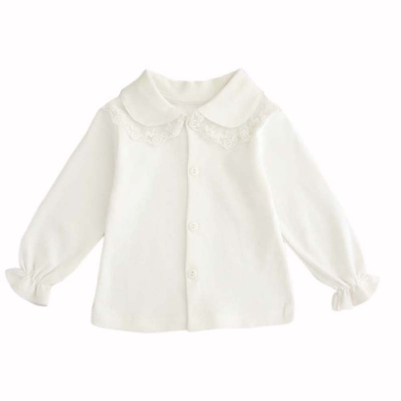 0-24M Baby Girl Cute Turn-down Collar Long Sleeve Lace Blouse Button Down Shirt Children's Girls New