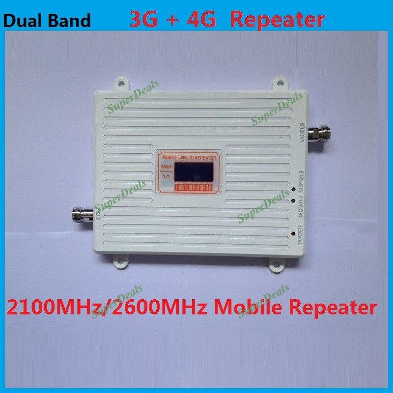Répéteur de signal mobile 2100/2600 mhz à double bande GSM à affichage LCD amplificateur de signal cellulaire 3g wcdma 4g LTE