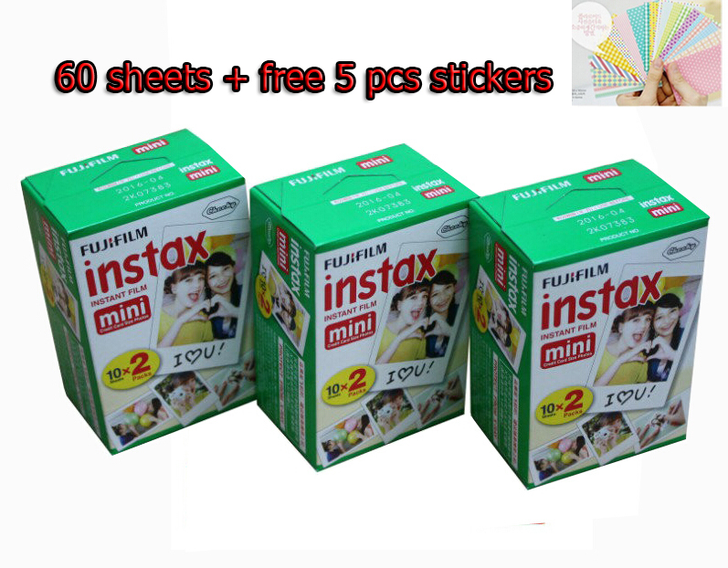 Genuine 60pcs Fuji Fujifilm Instax Mini 8 Film For polaroid mini 8 Mini10 20 7 7s 50s 90 25 dw 50i Share SP-1 Instant Cameras fujifilm fuji instax mini 8 film 100 sheets instsnt photo free gift photo stickers for mini 8 7s 25 50s 90 instant camera paper