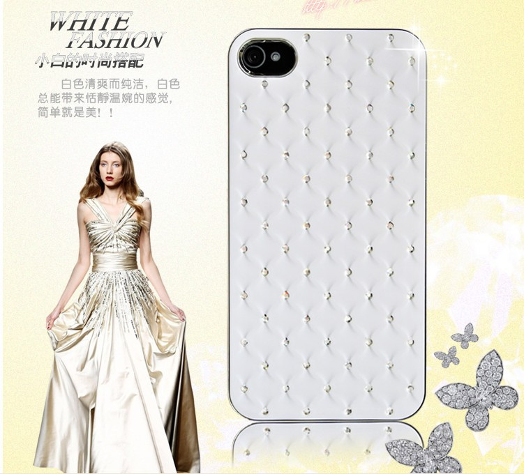 4s Bag Capa Elegant Back Case Apple iPhone 4 4S Bling Rhinestone Diamond Shiny Leather Cover Phone - Shenzhen RCD Technology Co., Ltd. store