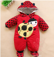 Newborn Baby Girls Clothing Coral Fleece Winter Boy Rompers Cartoson Infant Clothes Meninas Bear Down Snowsuit