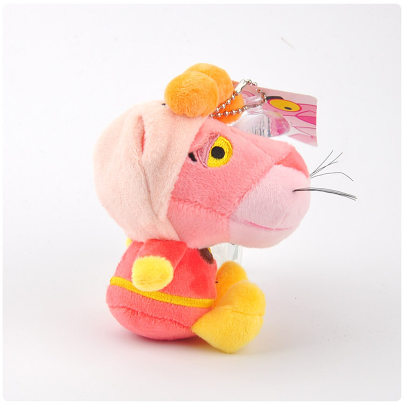 Anpanman Baikinman Pink Panther Plush Toys Keychain Sitting Superman Pink Leopard Panther Soft Animals Stuffed Dolls Key Bag Pendants10pcslot 10cm (5)