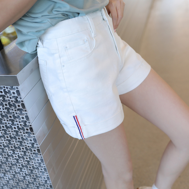 2019 Summer New Korean Hot Sell High Waist Super Elastic Washed Curled Cowboy Wide Leg Shorts Female