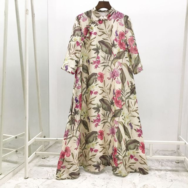 2019 Spring Summer New High End Luxury Real Silk Dress 30% Real Silk 70% Linen Printing Luxury Loose Bohemian Dresses for Women
