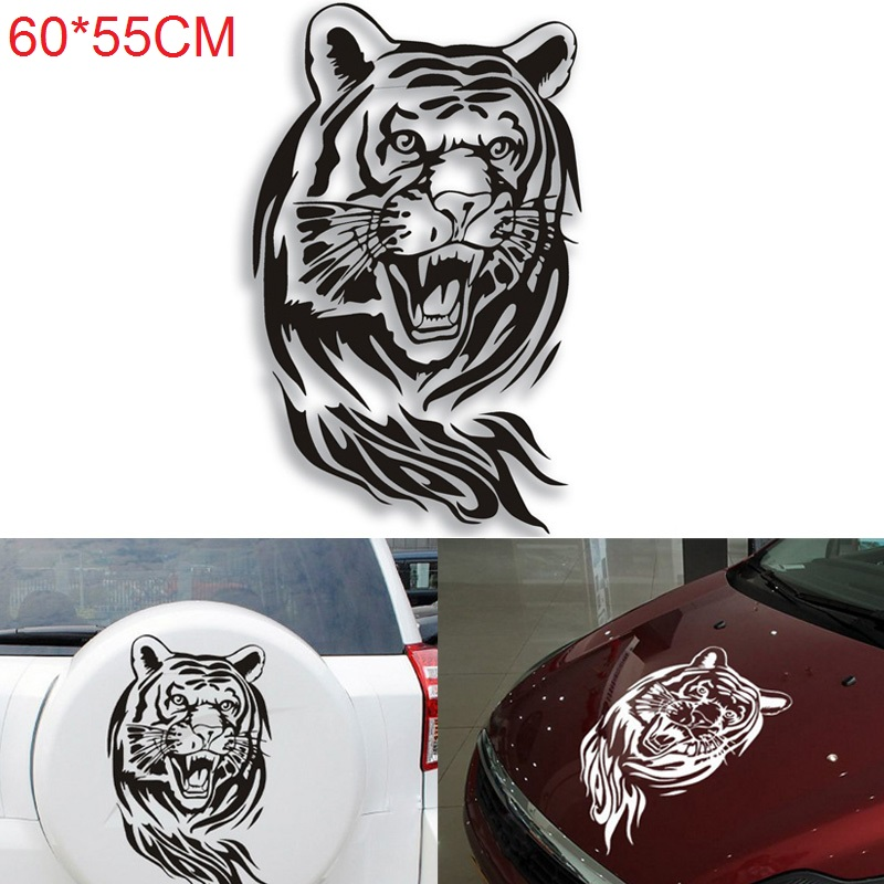 60CM Large Creative Tiger Car Auto Stickers Reflective Car Hood Spare Stickers Car styling Decoration in Car Stickers from Automobiles Motorcycles