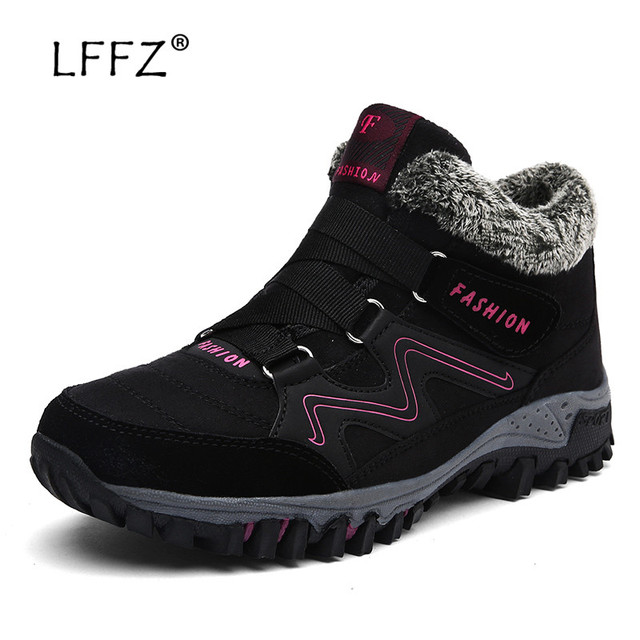 LFFZ Women Boots Winter with Fur 2018 Warm Snow Boots Women Winter Boots Work Shoes Footwear Fashion Rubber Ankle Shoes 39-46