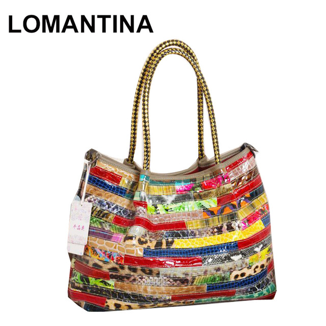 Lomantina Brand Fashion Style New Patent Leather Handbags Patchwork Colorful Snake Print Tote Women Messenger Bag