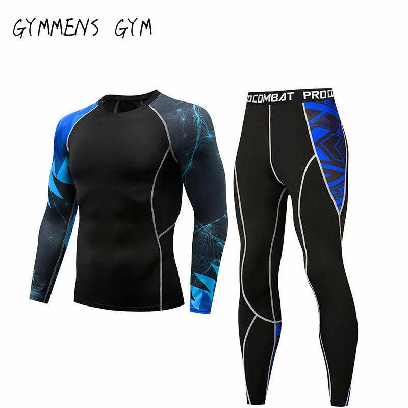 GYMMENS ランニング圧縮セットタイトなシャツレギンススポーツフィットネス男性のスポーツウェアパンツタイトなトレーニング脚メンズ gymnasti
