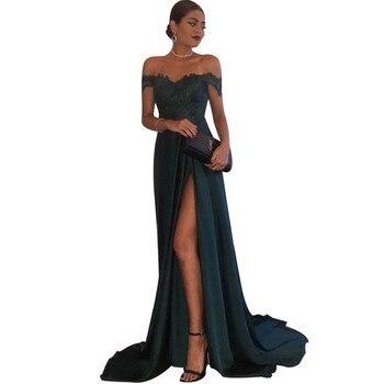 Hot Sale Boat Neck Off The Shoulder Elastic Satin Lace Applique A-Line Bridesmaid Gowns Cheap Bridesmaid Dresses