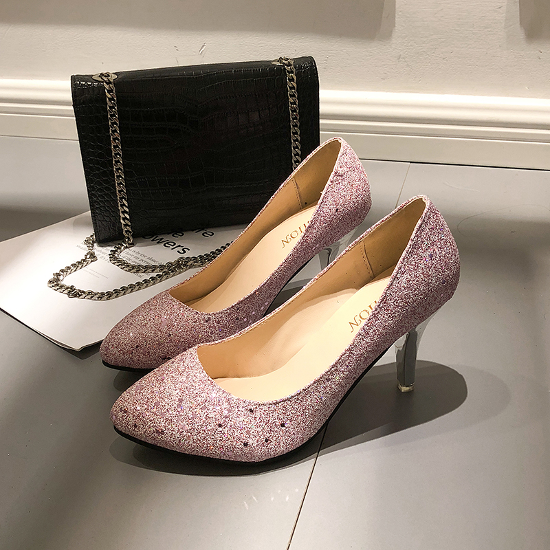2018 Cute Women Pumps Sexy Glitter Black Silver High Heels Shoes Woman Luxury Designer Stiletto Wedding Party Shoes Plus Size 44