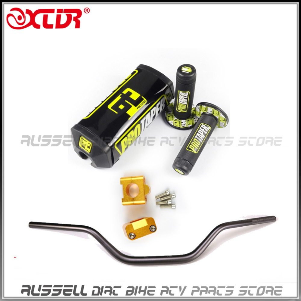 ФОТО 28mm High Fat Handlebar + Bar Pad + Hand Grips + Handlebar Clamp Por Taper CNC Dirt Pit MX Motorcycle ATV Quad golden